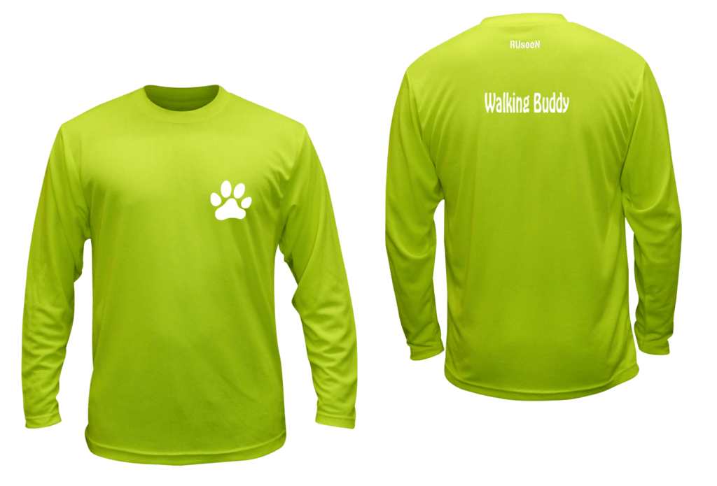 Unisex Reflective Long Sleeve - Walking Buddy - Front & Back - Lime Yellow