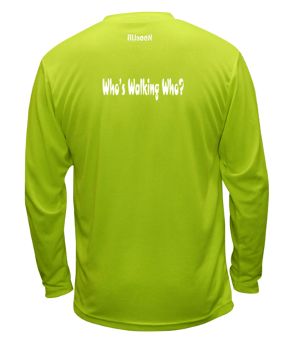 Unisex Reflective Long Sleeve - Who's Walking Who? - Back - Lime Yellow