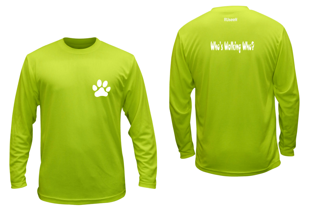 Unisex Reflective Long Sleeve - Who's Walking Who? - Front & Back - Lime Yellow