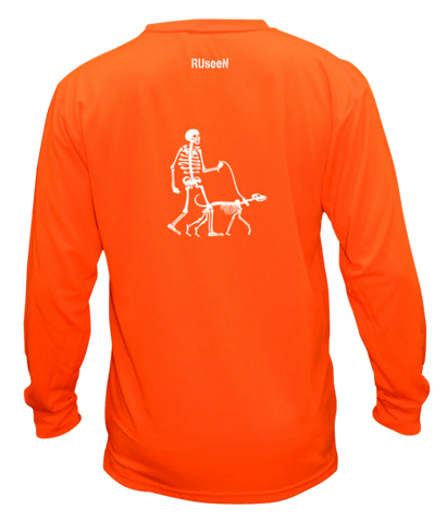 Unisex Reflective Long Sleeve - Male Skeleton Walking Skeleton Dog - Front - Orange