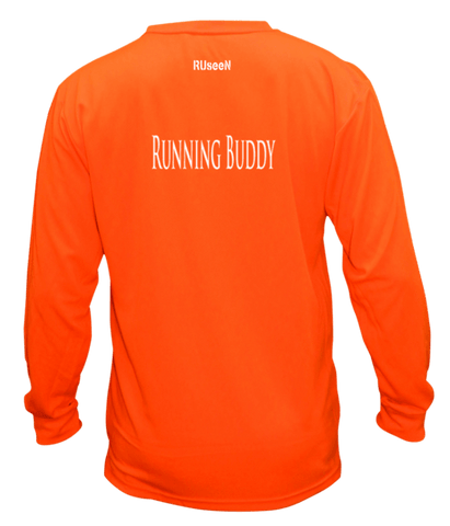 Unisex Reflective Long Sleeve Shirt - Running Buddy - Back - Orange