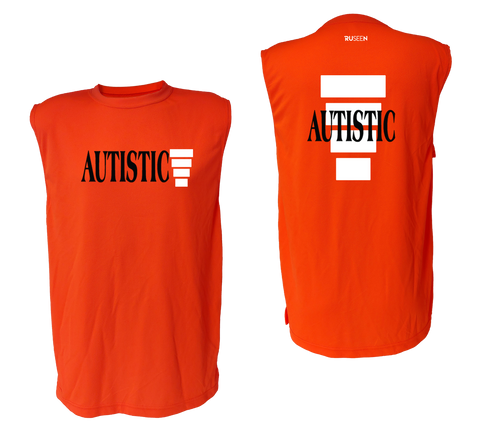 UNISEX SLEEVELESS REFLECTIVE SHIRT - ORANGE - AUTISTIC