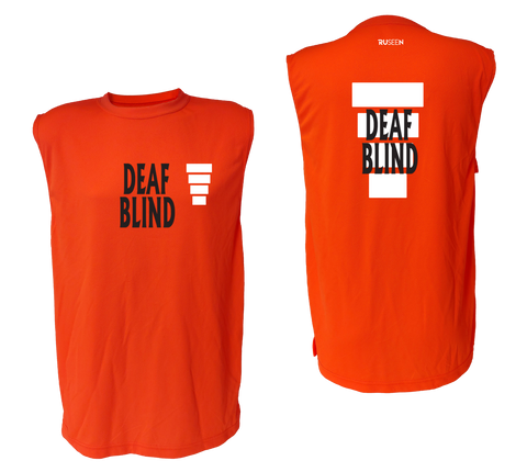 UNISEX SLEEVELESS REFLECTIVE SHIRT - ORANGE - DEAF BLIND
