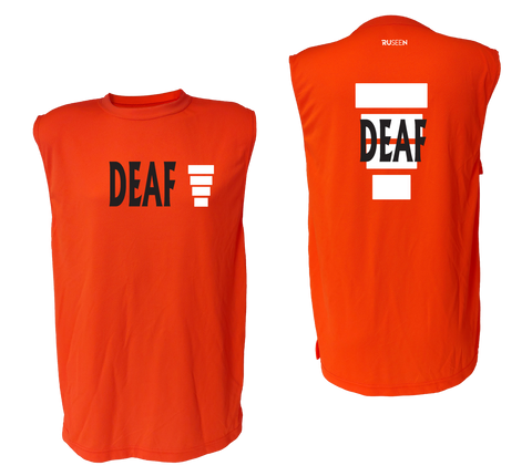 UNISEX SLEEVELESS REFLECTIVE SHIRT - ORANGE - DEAF