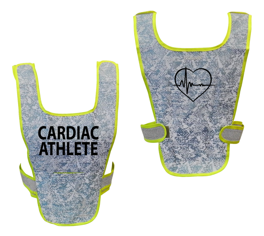 Reflective Running Vest - Cardiac Athlete - Front & Back - Light Blue