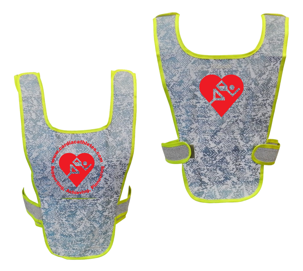 Reflective Running Vest - Cardiac Athletes .Org - Front & Back - Light Blue with Red Logos