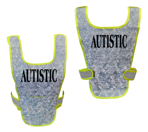 Reflective Running Vest - Autistic - Front & Back - Light Blue