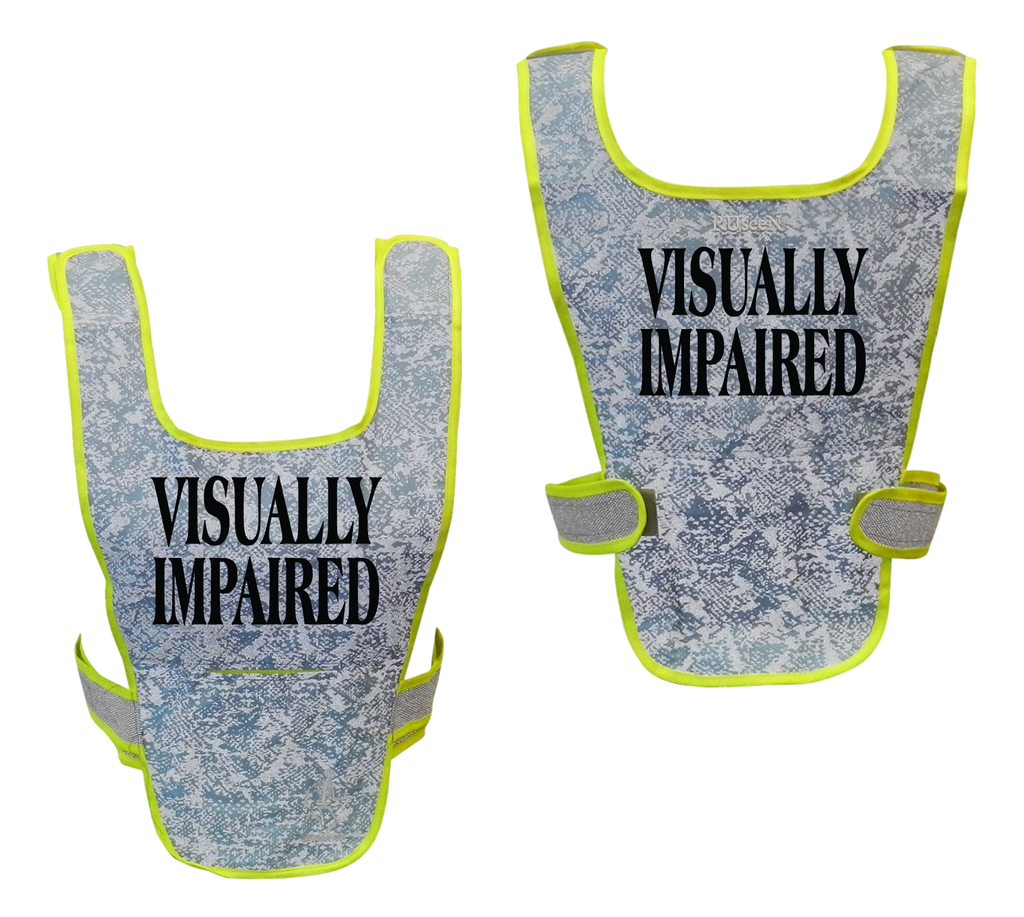 Reflective Running Vest - Visually Impaired - Front & Back - Light Blue