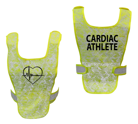 Reflective Running Vest - Cardiac Athlete - Front & Back - Lime Yellow