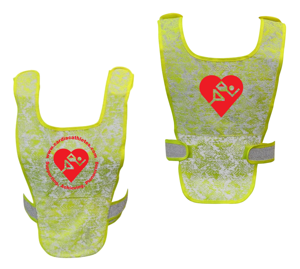 Reflective Running Vest - Cardiac Athletes .Org - Front & Back - Lime Yellow with Red Logo