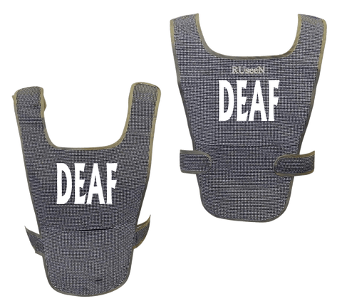 Reflective Running Vest - Deaf - Front & Black - Black