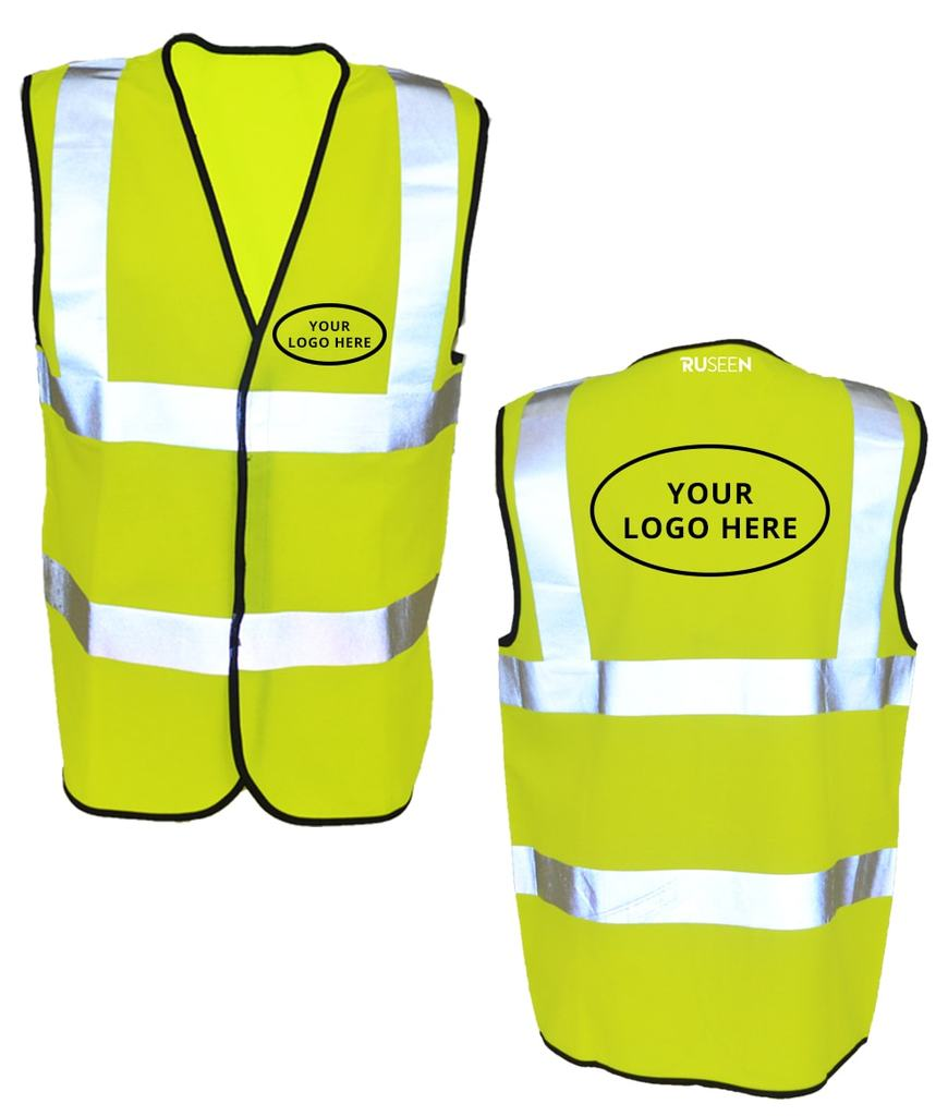 Reflective ANSI Class 2 Vest With Logo - Front & Back - Safety Yellow