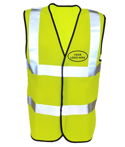 Reflective ANSI Class 2 Vest With Logo - Front - Safety Yellow