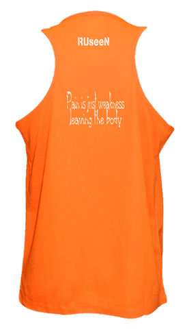 Men's Reflective Tank Top - Pain is Weakness - Back - Orange