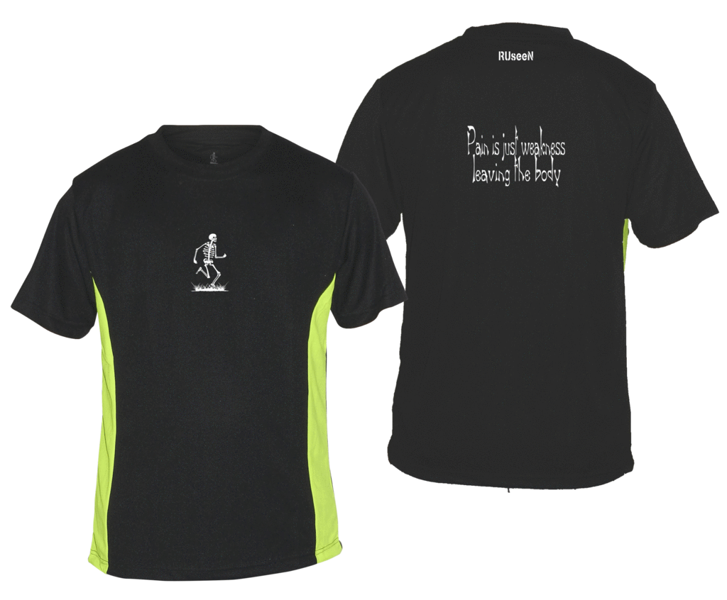 Men's Reflective Short Sleeve Shirt - Pain is Weakness - Front & Back - Black w/ Lime Yellow Stripe