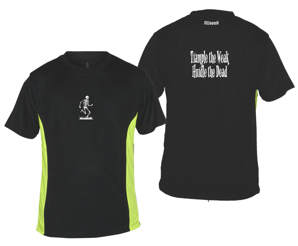 Men's Reflective Short Sleeve Shirt - Trample the Weak - Front & Back - Black w/ Lime Yellow Stripe