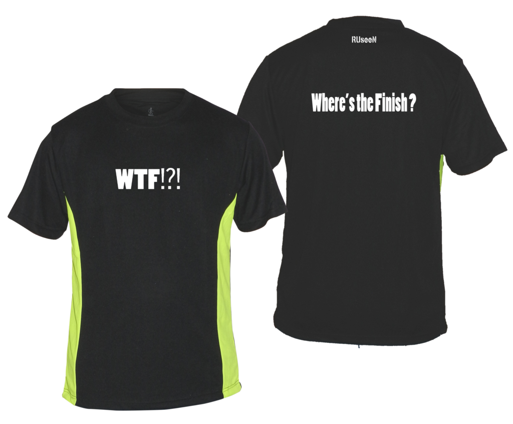 Men's Reflective Short Sleeve Shirt - Where's the Finish? - Front & Back - Black w/ Lime Yellow Stripe