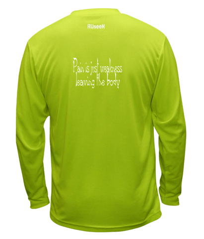 Unisex Reflective Long Sleeve Shirt - Pain is Weakness - Back - Lime Yellow
