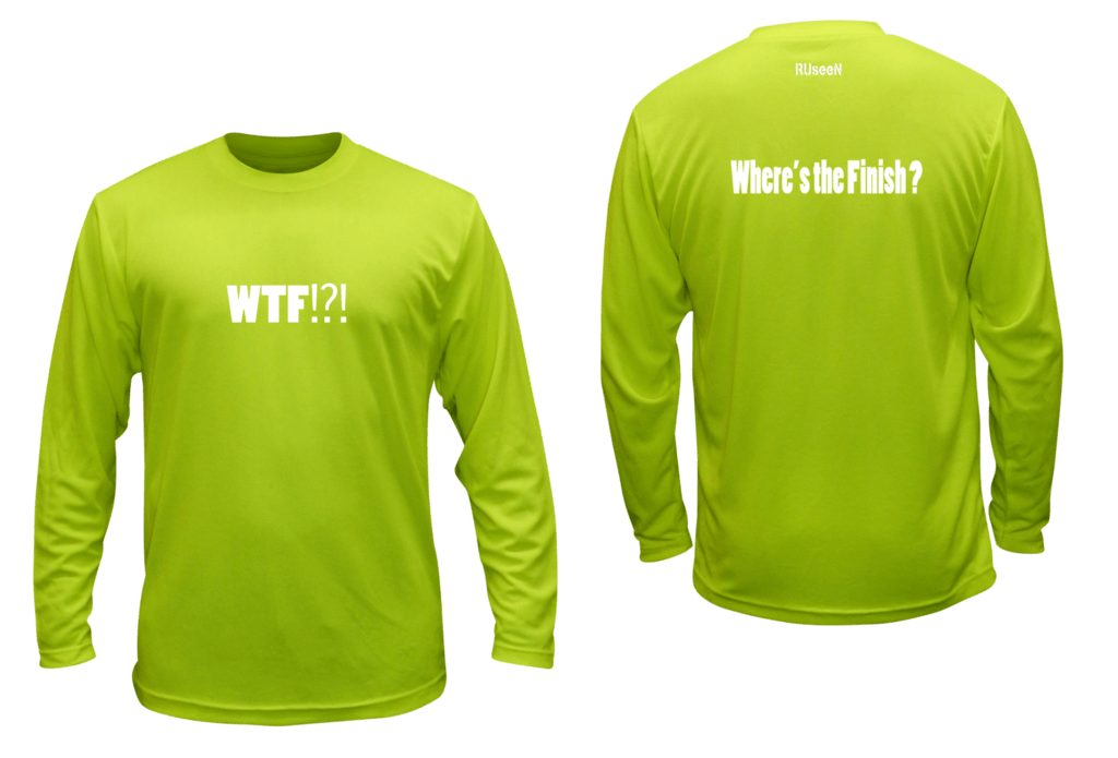 Unisex Reflective Long Sleeve - Where's the Finish? - Front & Back - Lime Yellow