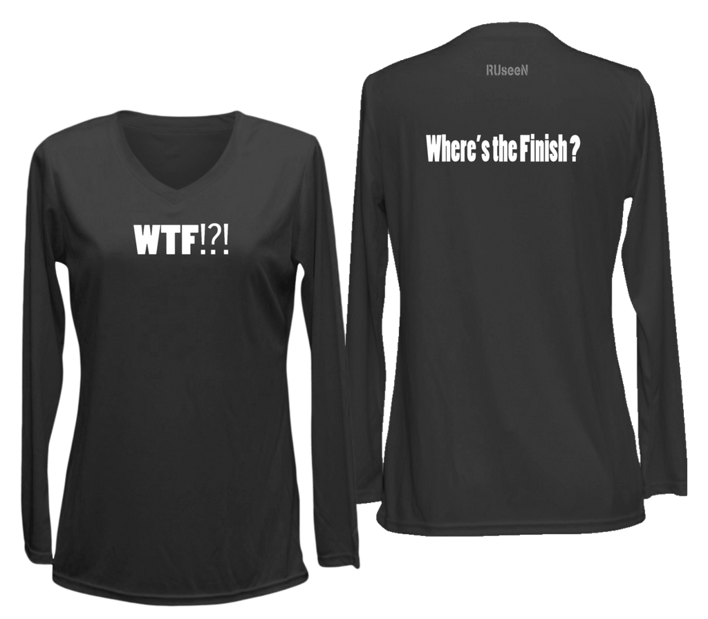 Women's Reflective Long Sleeve Shirt - Where's the Finish? - Front & Back - Black