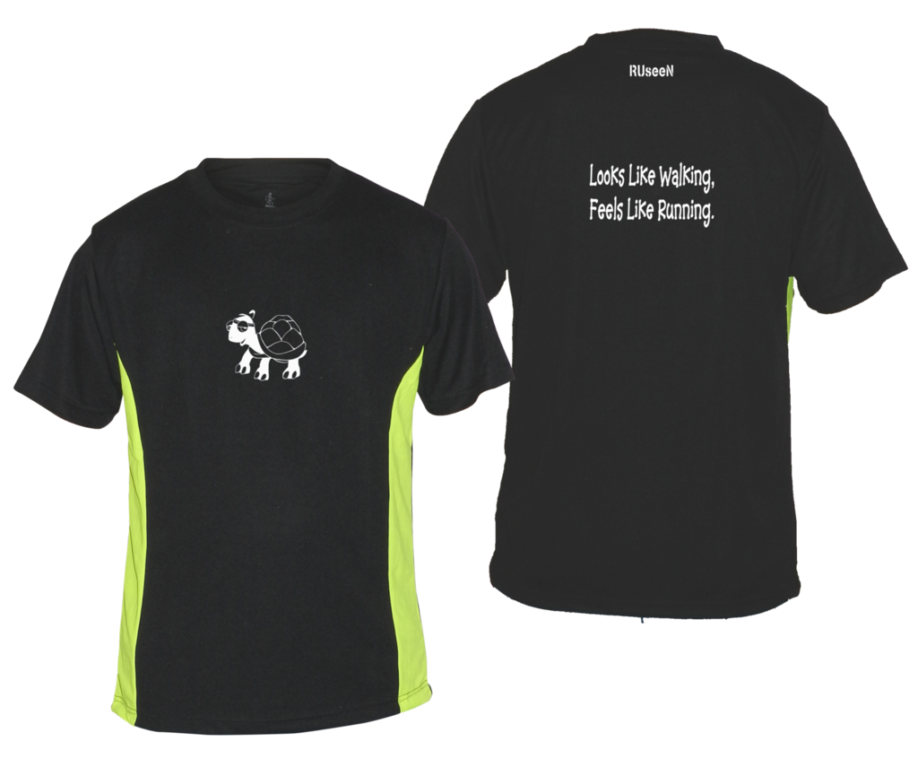 Men's Reflective Short Sleeve Shirt - Looks Like Walking - Front & Back - Black w/ Lime Yellow Stripe
