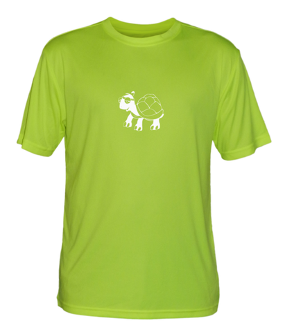 Men's Reflective Short Sleeve Shirt - Looks Like Walking - Front - Lime Yellow