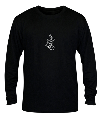 Unisex Reflective Long Sleeve Shirt - 2 Speeds Rabbit - Front - Black