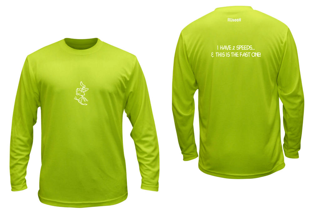 Unisex Reflective Long Sleeve Shirt - 2 Speeds Rabbit - Front & Back - Lime Yellow