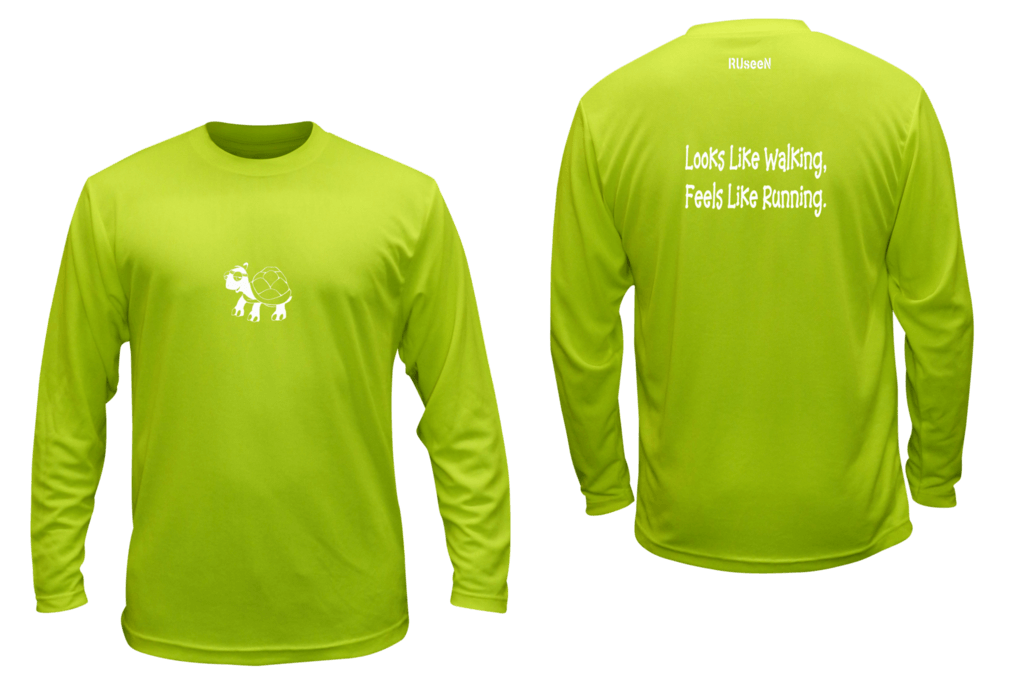 Unisex Reflective Long Sleeve - Looks Like Walking - Front & Back - Lime Yellow