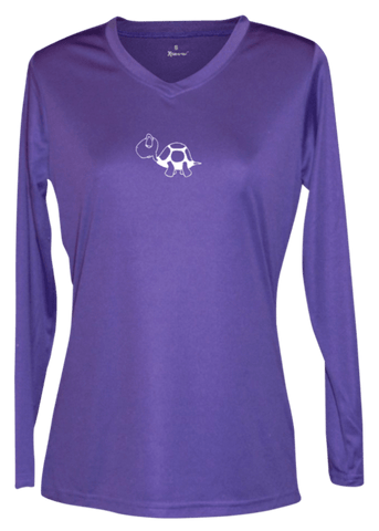 Women's Reflective Long Sleeve Shirt - I'm Not Last - Front - Dark Purple