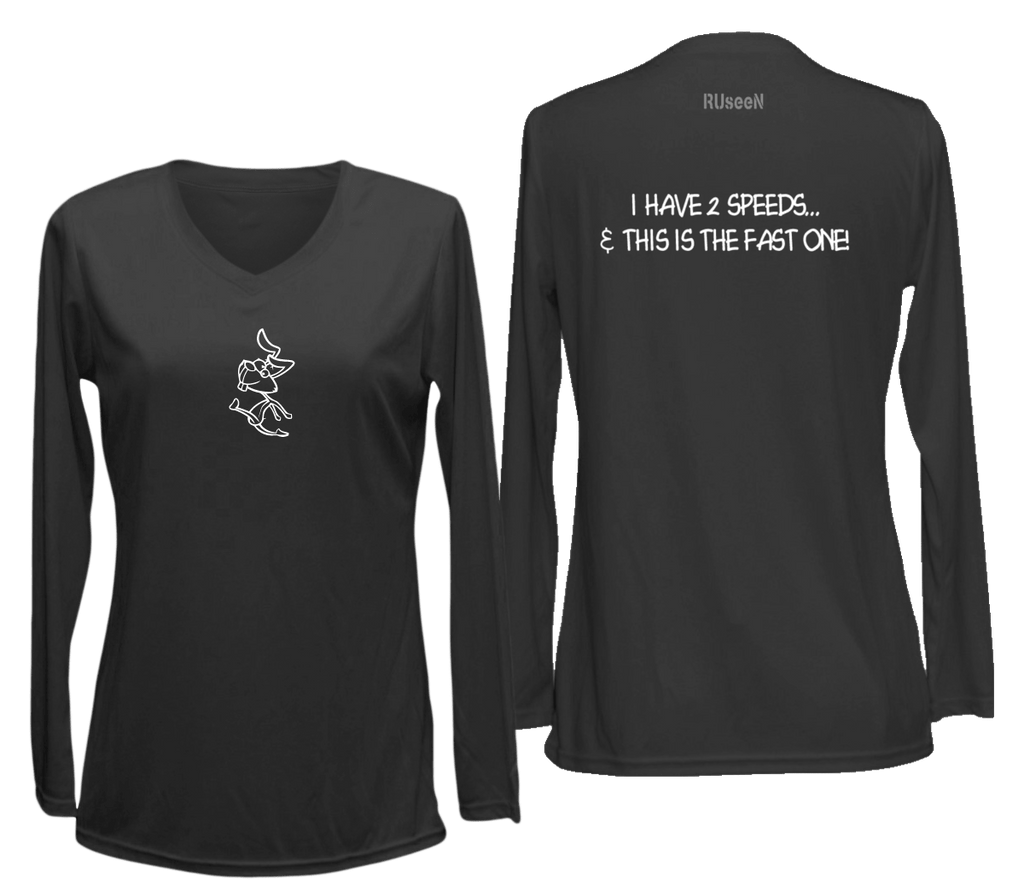 Women's Reflective Long Sleeve Shirt - 2 Speeds Rabbit - Front & Back - Black