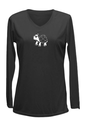 Women's Reflective Long Sleeve Shirt - Looks Like Walking - Front - Black