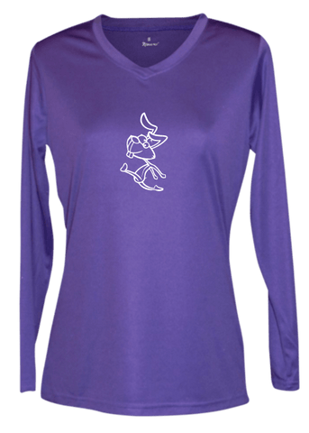 Women's Reflective Long Sleeve Shirt - 2 Speeds Rabbit - Front - Dark Purple
