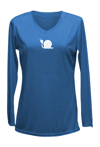 Women's Reflective Long Sleeve Shirt - Didn't Train - Front - Electric Blue