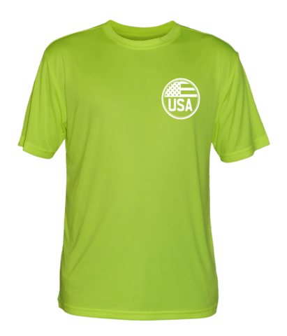 Men's Reflective Short Sleeve Shirt - Proud American - Front - Lime Yellow