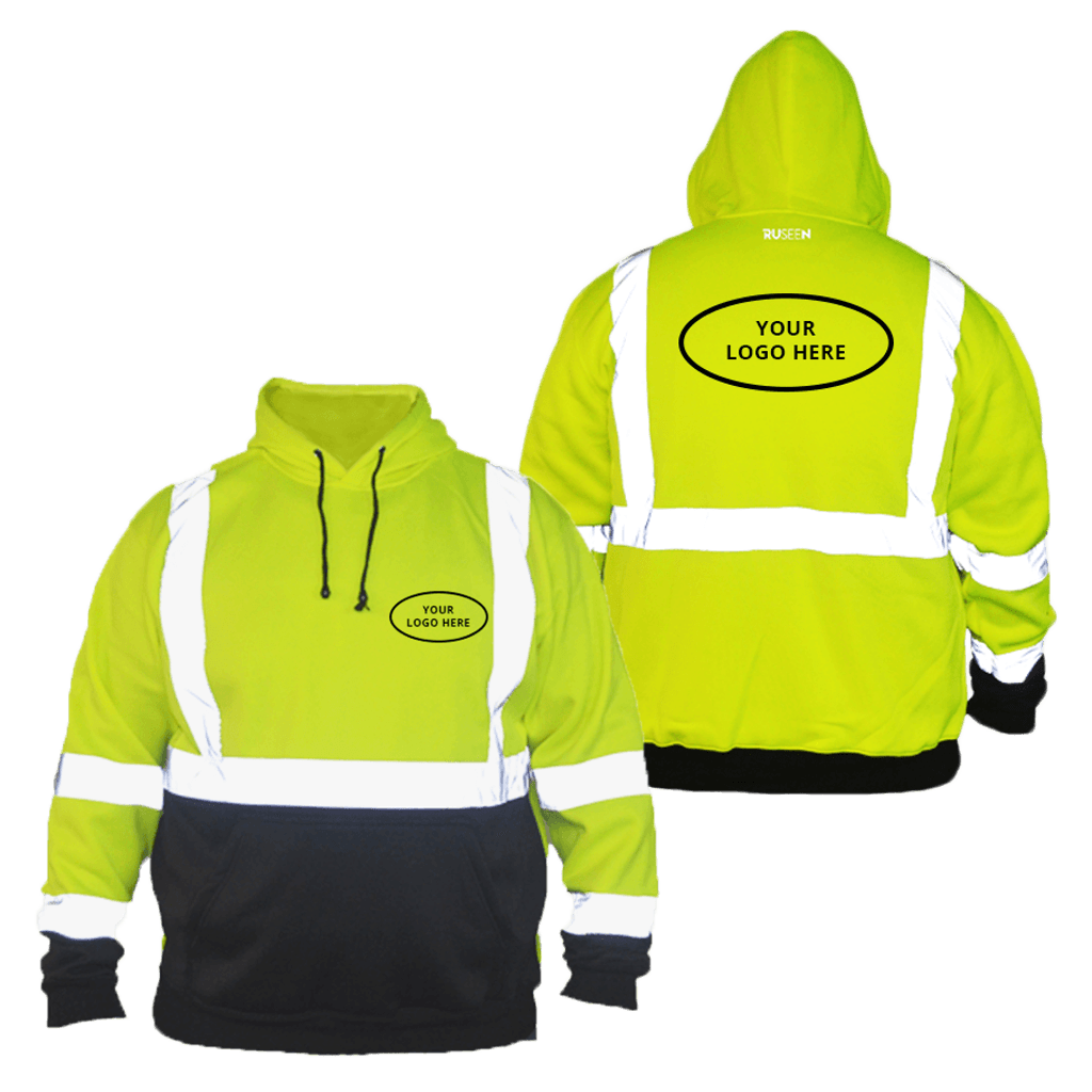 Class 3 ANSI 2-Tone Reflective Hoodie with Logo - Front & Back - Safety Green