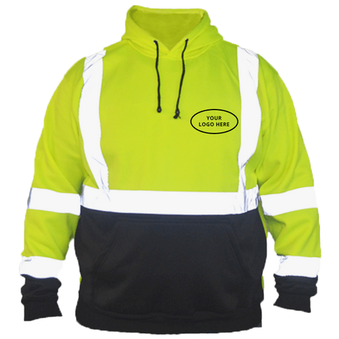Class 3 ANSI 2-Tone Reflective Hoodie with Logo - Front - Safety Green