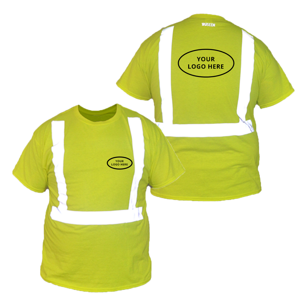 ANSI Short Sleeve Reflective with Custom Graphic - Front & Back - Safety Yellow