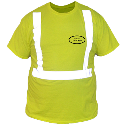 ANSI Short Sleeve Reflective with Custom Graphic - Front - Safety Yellow