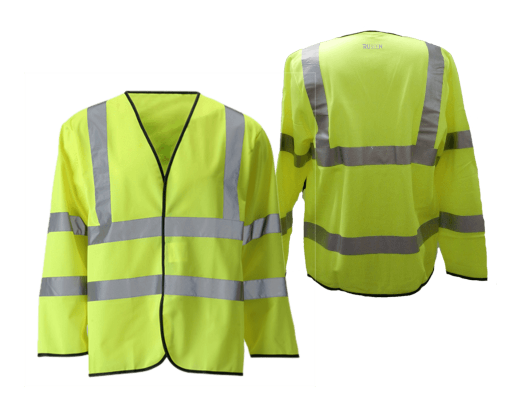 37e3aeaec53 Reflective Long Sleeve ANSI Class 3 Vest - Front   Back - Safety Yellow