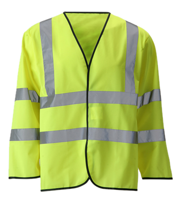 Reflective Long Sleeve ANSI Class 3 Vest - Front - Safety Yellow