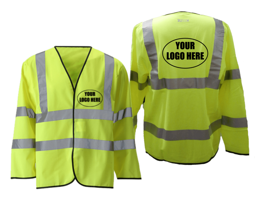 Reflective Long Sleeve ANSI Class 3 Vest With Custom Logo - Front & Back - Safety Yellow