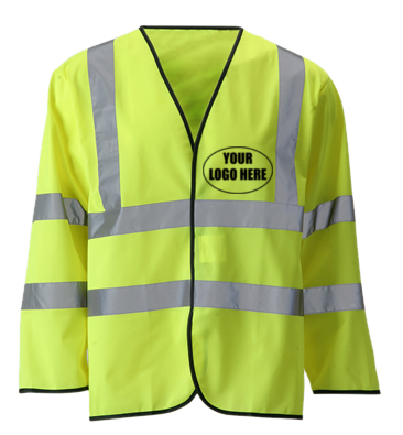 Reflective Long Sleeve ANSI Class 3 Vest With Custom Logo - Front - Safety Yellow