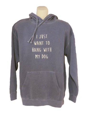Unisex Reflective Hoodie - Hang with my Dog - Blue Jean