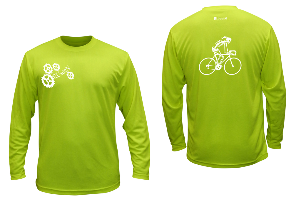 Unisex Reflective Long Sleeve Shirt - Female Skeleton on Road Bike