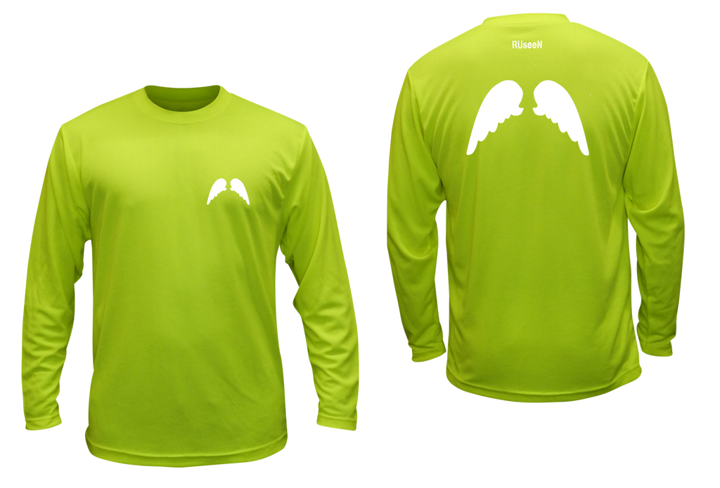 Unisex Reflective Long Sleeve - Wings - Lime Yellow