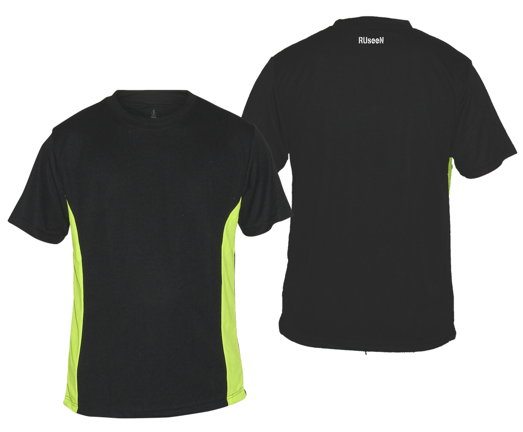 Men's Short Sleeve - Blank - Black with Lime Sides