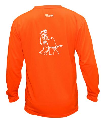 Unisex Reflective Long Sleeve - Female Skeleton Walking Skeleton Dog
