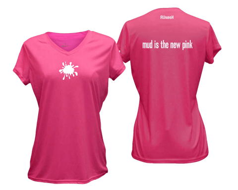 Women's Reflective Short Sleeve Shirt - Mud is the New Pink
