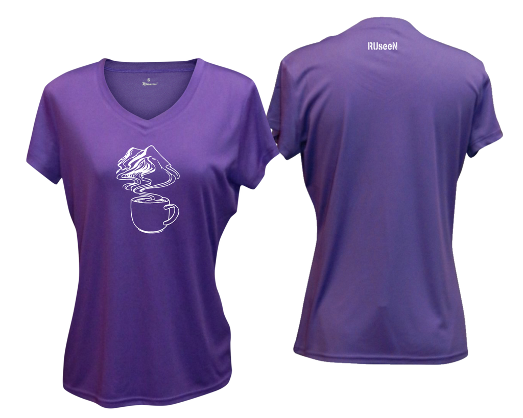 WOMEN'S REFLECTIVE SHORT SLEEVE SHIRT –  COFFEE MOUNTAINS - Front & Back – Dark Purple